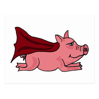 XX- Flying Super Pig Cartoon Postcard
