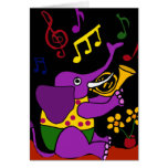 XX- Folk Art Elephant Playing French Horn Greeting Cards