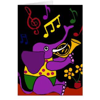XX- Folk Art Elephant Playing French Horn Greeting Card