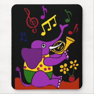 XX- Folk Art Elephant Playing French Horn Mouse Pad