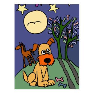 XX- Folk  Art Terrier Dog Under Moon and Stars Postcard