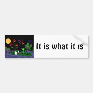XX- Frog Sitting on Alligator Nose Cartoon Bumper Sticker