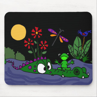 XX- Frog Sitting on Alligator Nose Cartoon Mouse Pad