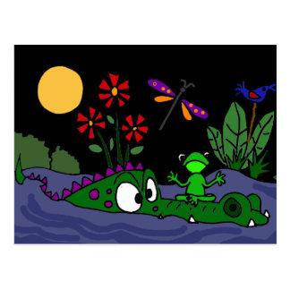 XX- Frog Sitting on Alligator Nose Cartoon Postcard