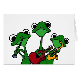 XX- Frogs Playing Music Cartoon Card