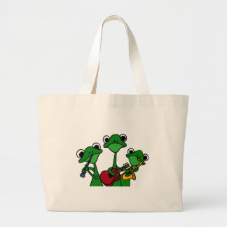 XX- Frogs Playing Music Cartoon Large Tote Bag