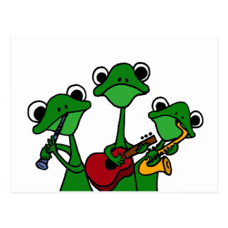 XX- Frogs Playing Music Cartoon Postcard