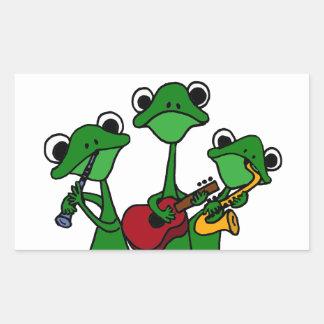 XX- Frogs Playing Music Cartoon Rectangular Sticker