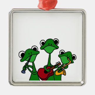 XX- Frogs Playing Music Cartoon Square Metal Christmas Ornament