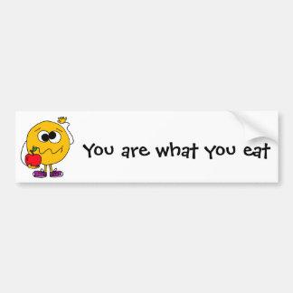 XX- Fruity Smiley Face Eating an Apple Car Bumper Sticker