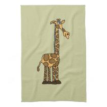 XX- Funky Giraffe cartoon Kitchen Towel