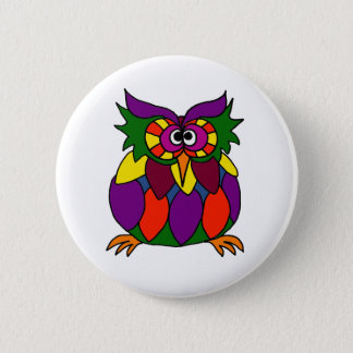 XX- Funky Owl Art Cartoon Button