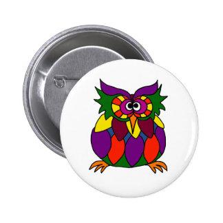 XX- Funky Owl Art Cartoon Button