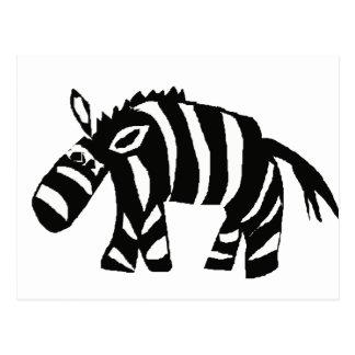 XX- Funky Primitive Art Zebra Postcard