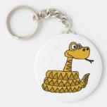 XX- Funky Rattlesnake Cartoon Basic Round Button Keychain
