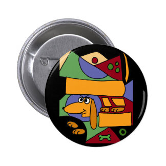 XX- Funny Abstract Art Dachshund Button