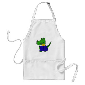 XX- Funny Alligator Reading a Book Adult Apron