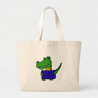 XX- Funny Alligator Reading a Book Jumbo Tote Bag