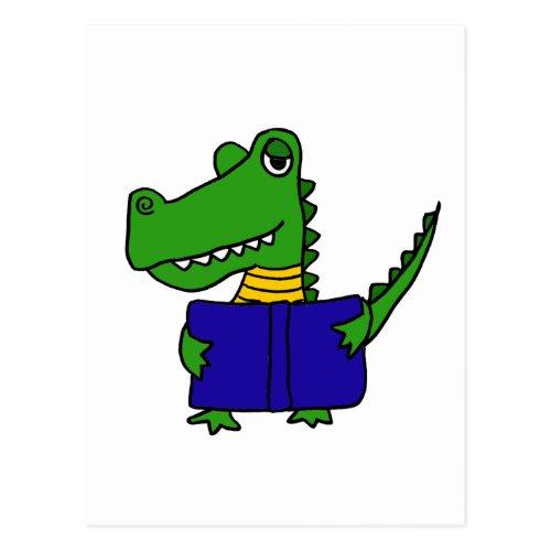 XX_ Funny Alligator Reading a Book Postcard