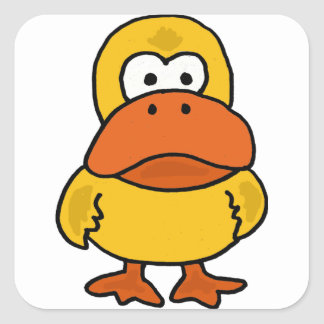 XX- Funny Angry Duck Cartoon Square Sticker