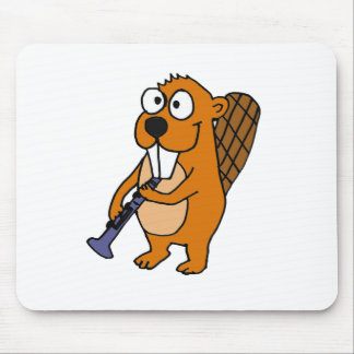 XX- Funny Beaver Playing Clarinet Cartoon Mouse Pad