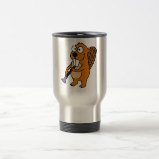 XX- Funny Beaver Playing Clarinet Cartoon 15 Oz Stainless Steel Travel Mug