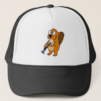 XX- Funny Beaver Playing Clarinet Cartoon Trucker Hat