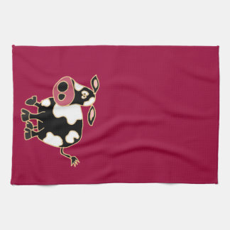 XX- Funny Black and White Cow cartoon Kitchen Towels