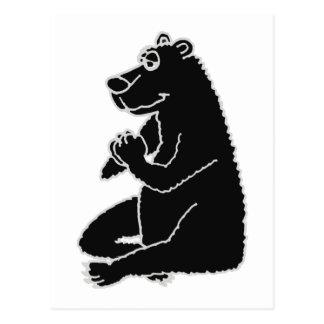 XX- Funny Black Bear doing Yoga Postcard