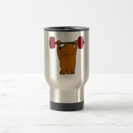XX- Funny Brown Bear Weight Lifting Travel Mug