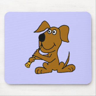 XX- Funny Brown Dog Playing the Clarinet Mouse Pad
