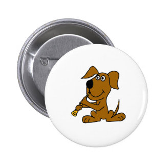 XX- Funny Brown Dog Playing the Clarinet Pinback Button