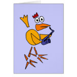 XX- Funny Chicken Playing Saxophone Abstract Art Greeting Card
