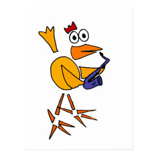 XX- Funny Chicken Playing Saxophone Abstract Art Postcard