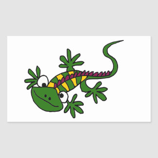 XX- Funny Colorful Iguana Cartoon Rectangular Sticker