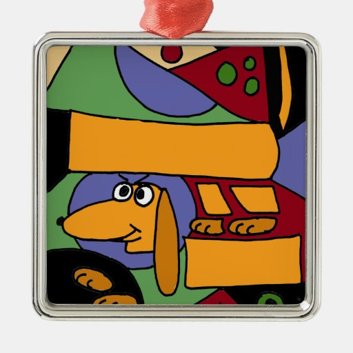XX- Funny Dachshund Abstract Art Square Metal Christmas Ornament