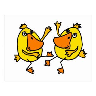 XX- Funny Dancing Ducks Egg Cartoon Postcard