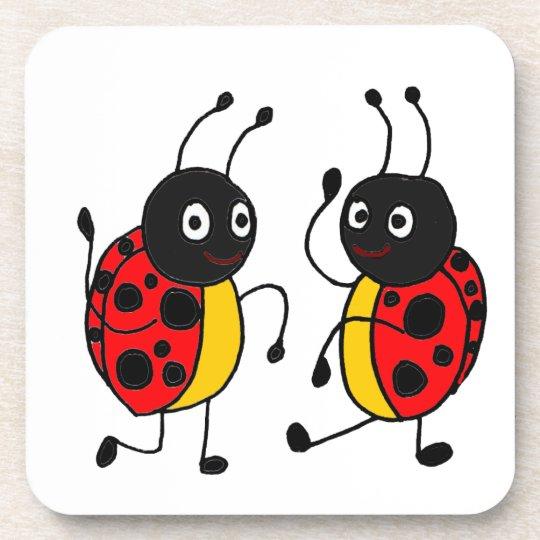 XX- Funny Dancing Ladybugs Cartoon Beverage Coaster