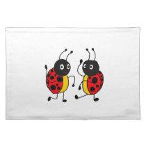 XX- Funny Dancing Ladybugs Cartoon Placemat