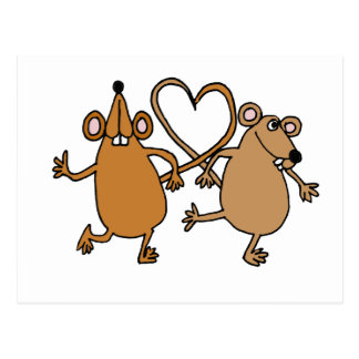 XX- Funny Dancing Mice Love Design Postcard