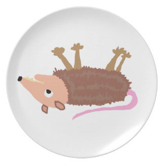 XX- Funny Dead Possum Roadkill Cartoon Party Plate