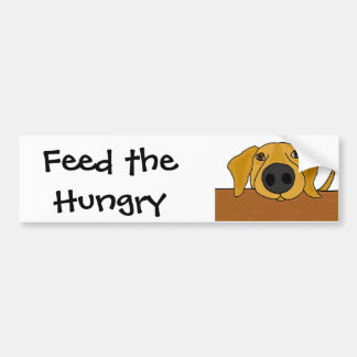 XX- Funny Dog Begging at the Table Cartoon Bumper Sticker