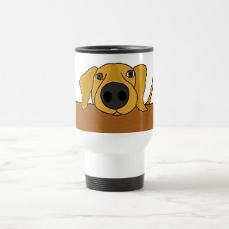 XX- Funny Dog Begging at the Table Cartoon Travel Mug