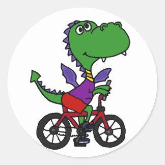 XX- Funny Dragon Riding Bicycle Classic Round Sticker