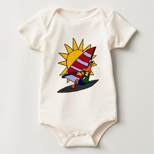 XX- Funny Duck Windsurfing Cartoon Baby Bodysuits