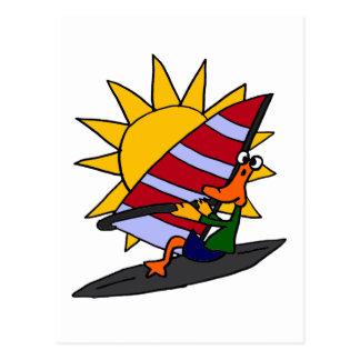 XX- Funny Duck Windsurfing Cartoon Postcard
