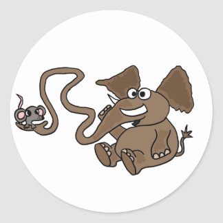 XX- Funny Elephant with Mouse in Trunk Cartoon Classic Round Sticker