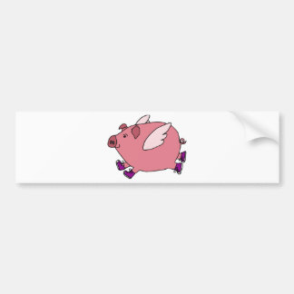 XX- Funny Flying Pig with Sneakers Bumper Sticker