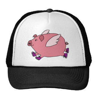 XX- Funny Flying Pig with Sneakers Trucker Hat