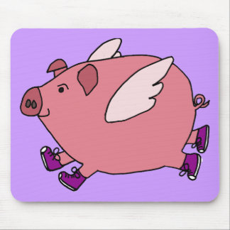 XX- Funny Flying Pig with Sneakers Mouse Pad
